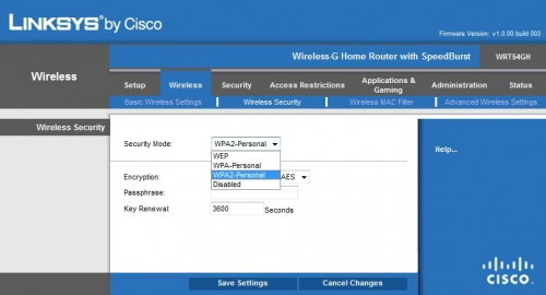 Linksys by Cisco WRT54gh - panel Administracyjny - Security
