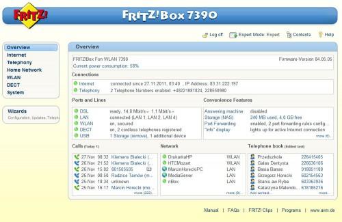 Fritzbox Fon 7390 - pulpit główny w panelu administracyjnym