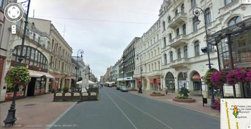 Google Street View: Ulica Piotrkowska w Łodzi