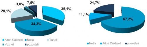 Źródło UKE: udział w rynku według liczby użytkowników oraz wielkości przychodów wśród operatorów VoIP świadczących usługi w sieci innych operatorów