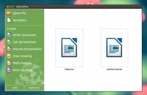 Nowy ekran startowy w LibreOffice 4.2