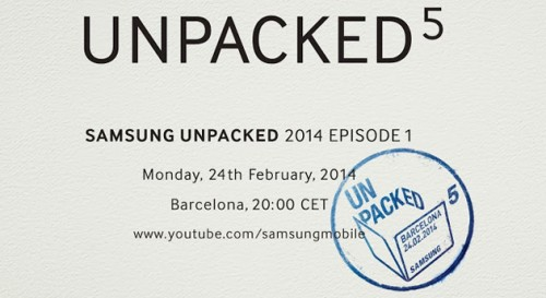 Zaproszenie na Samsung Unpacked 2014 podczas MWC 2014