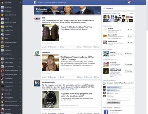 Wcześniejsza wersja News Feeda z marca 2013 roku