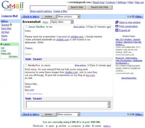Gmail w 2004 roku
