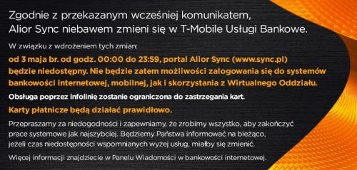 T-Mobile Usługi Bankowe w weekend zastąpi Alior Sync
