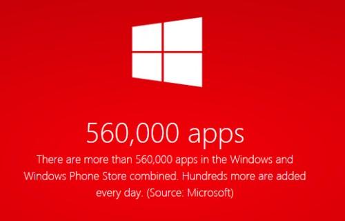 Sklep Windows 560 tysięcy aplikacji