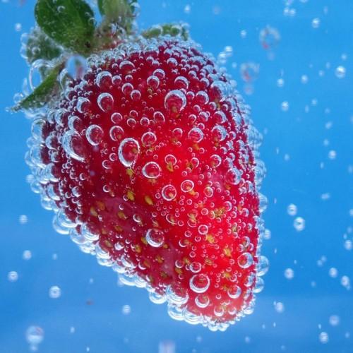 Diving strawberry, fot. Kamil Kawczyński. Wyróżnienie w kategorii STILL LIFE