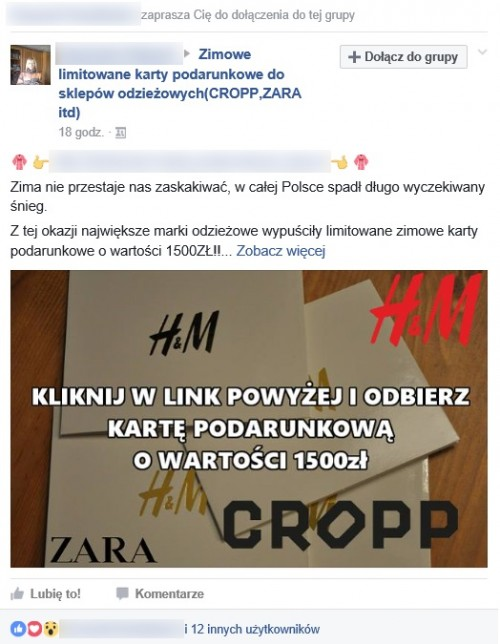 Fałszywe bony na Facebooku