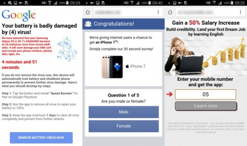 Strony, do których przekierowują złośliwe aplikacje i żądają podania swoich danych