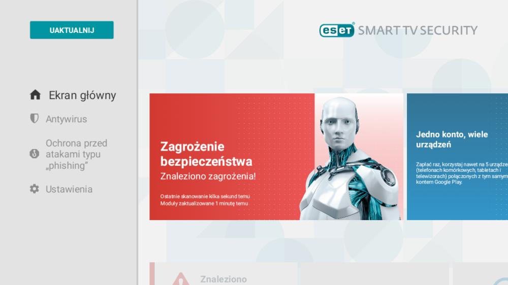 ESET Smart TV Security menu główne aplikacji