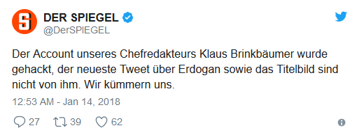 """Informacja na oficjalnym profilu niemieckiego """"Spiegla"""", wyjaśniająca, że konto redaktora naczelnego Klausa Brinkbäumera zostało wykorzystane w nieuprawniony sposób przez osoby trzecie."""