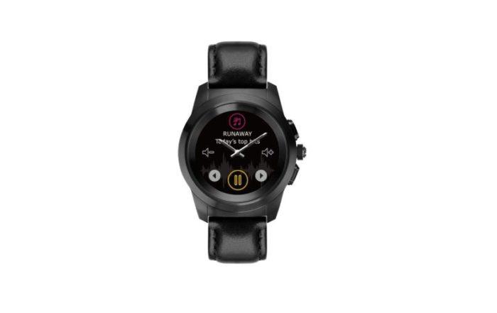 ZeTime Premium Brushed black Black flat leather Front view Music