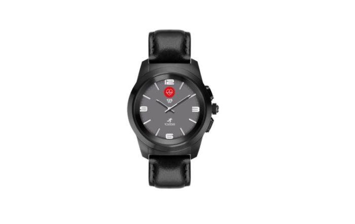 ZeTime Premium Brushed black Black flat leather Front view Watchface