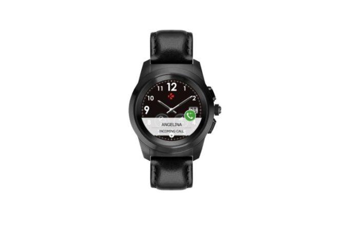 ZeTime Premium Brushed black Black flat leather Front view Watchface10
