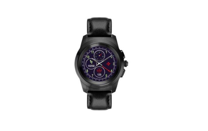 ZeTime Premium Brushed black Black flat leather Front view Watchface12