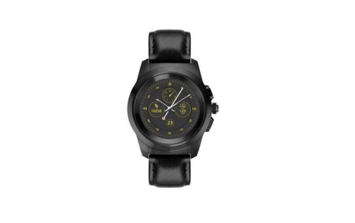 ZeTime Premium Brushed black Black flat leather Front view Watchface2