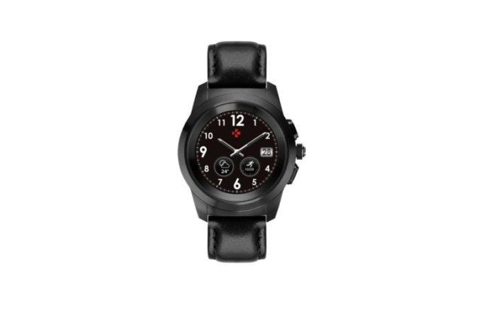 ZeTime Premium Brushed black Black flat leather Front view Watchface6