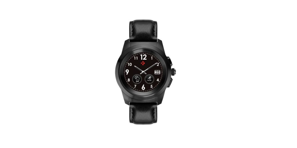 ZeTime Premium Brushed black Black flat leather Front view Watchface6