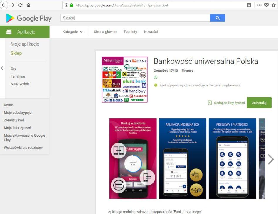 Aplikacja Bankowość uniwersalna Polska   print screen z Google Play