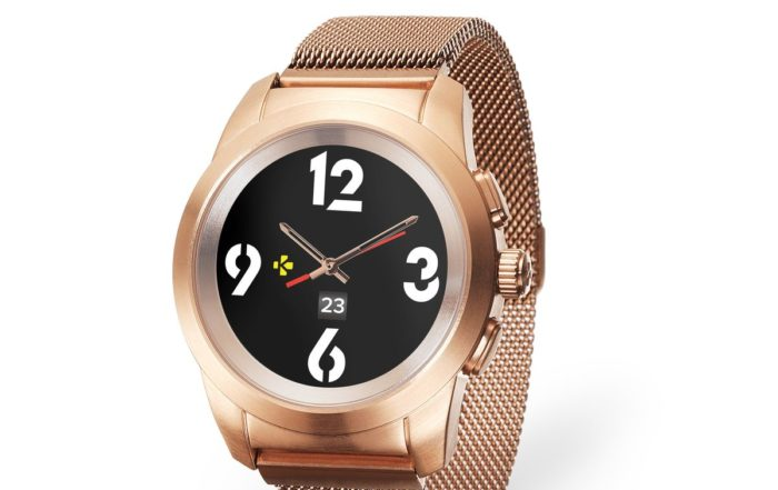 ZeTime Elite Brushed pink gold Milanese 3 4 view Watchface