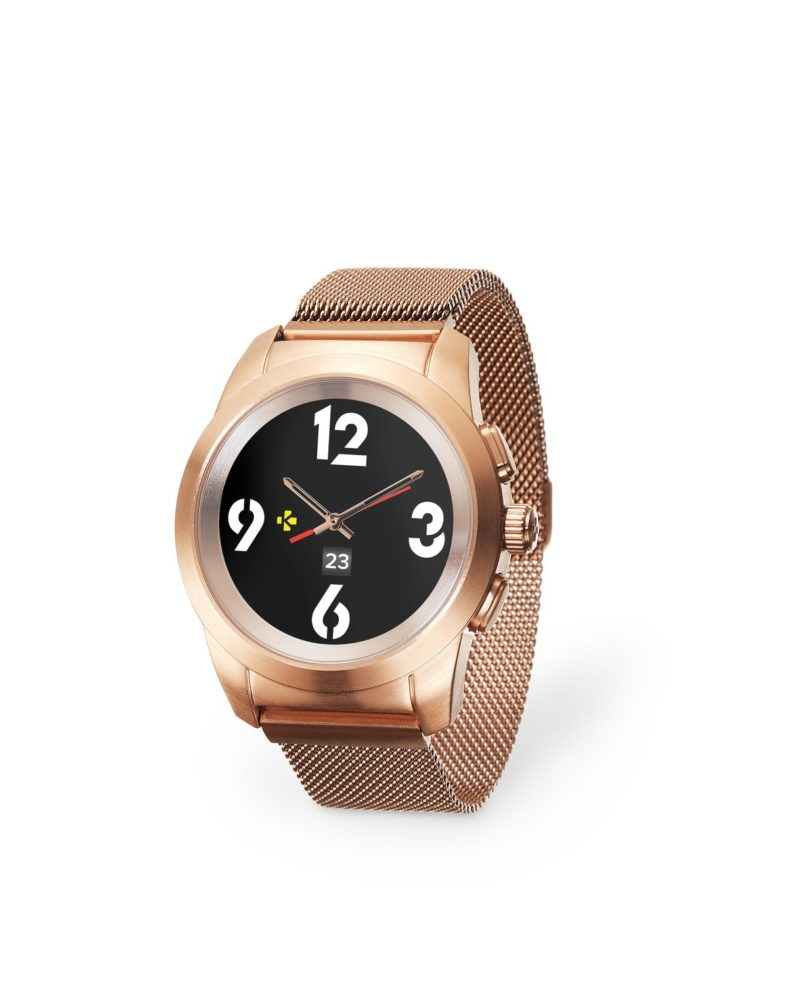 ZeTime Elite Brushed pink gold Milanese 3 4 view Watchface