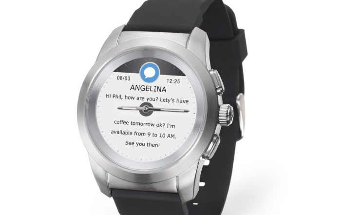 ZeTime Brushed silver Black Silicone 3.4 view Text