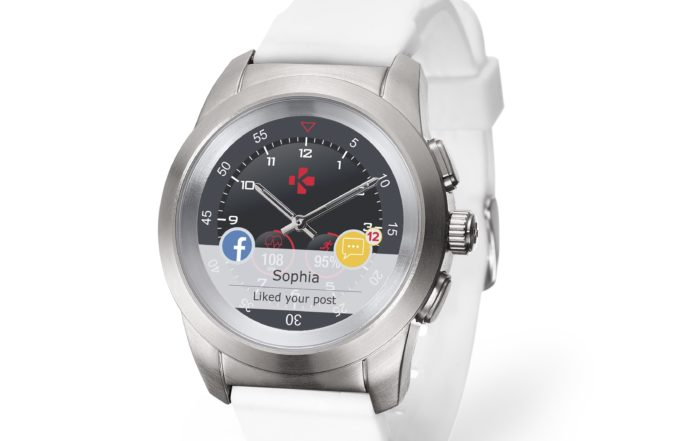ZeTime Brushed silver White Silicone 3 4 view Watchface