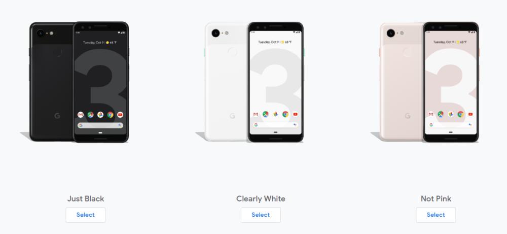 Kolorystyka Google Pixel 3 XL