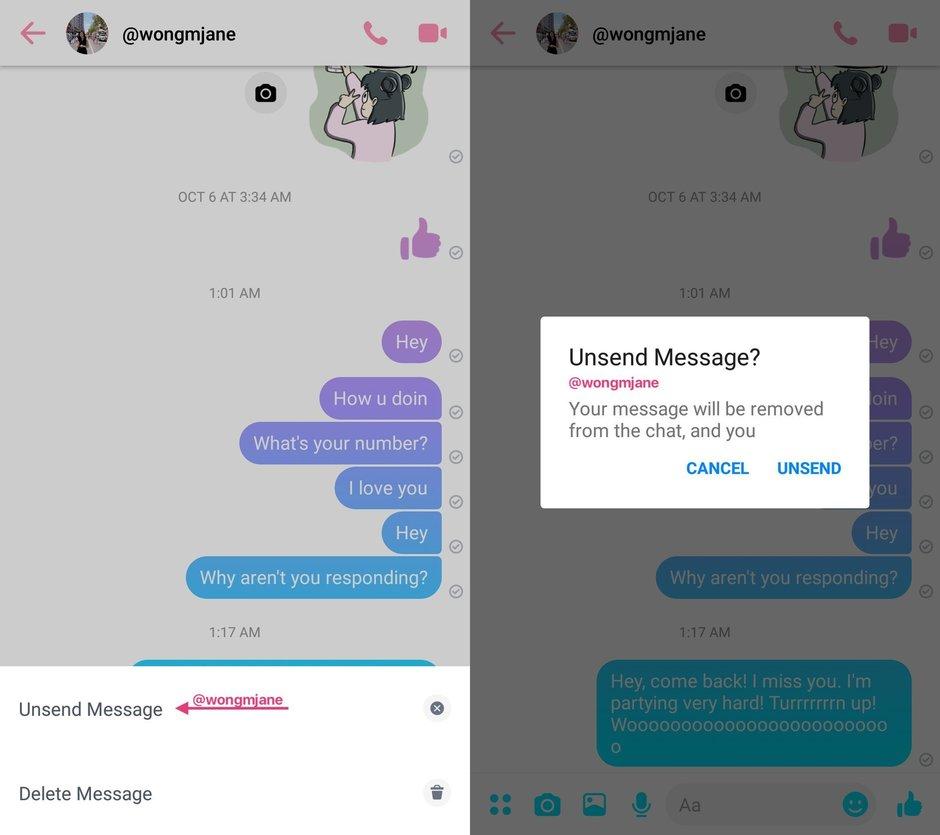 Facebook Messenger usunięcie wiadomości