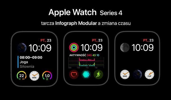 apple watch 4 infograph zmiana czasu