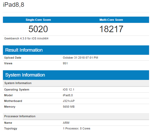 Geekbench Apple A12X Bionic test tabletu PRO