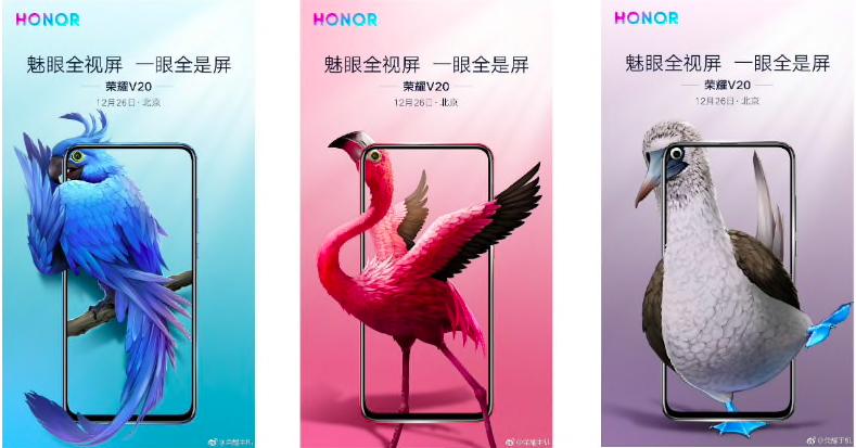 Honor ograła dziurawy ekran smartfona Honor View 20 za pomocą ptaków egzotycznych