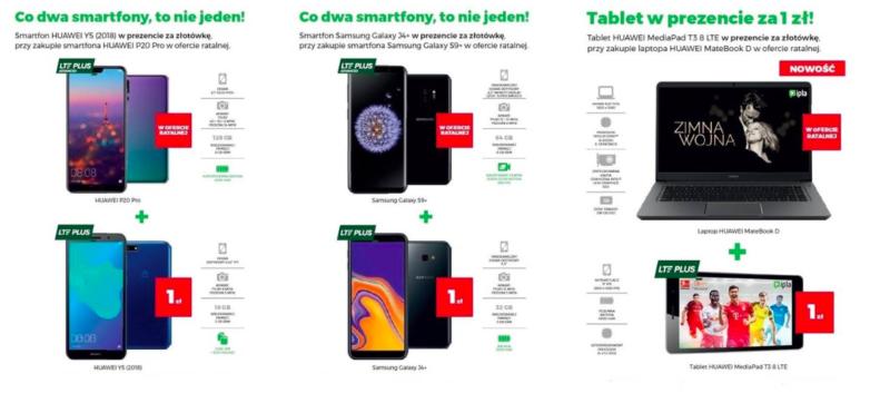 Od 27 grudnia Plus wprowadza nowe promocje, w których wybrane sprzęty można dostać za 1 zł przy zakupie drugiego na raty. W ofertach głosowych dostępne są zestawy smartfonów Huawei oraz Samsung, natomiast w ofercie internetowej laptop z tabletem Huawei 1