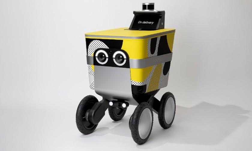 """Robot-listonosz c """"oczami"""", który wygląda jak wózek dziecięcy"""