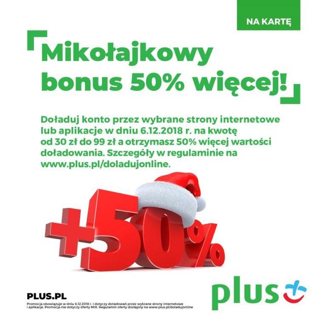 Bonus 50 więcej do doładowania to mikołajkowa promocja Plusa