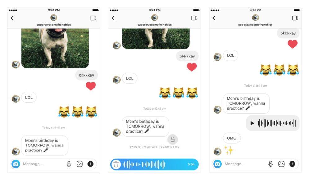 Instagram wprowadził funkcję wysyłania wiadomości głosowych