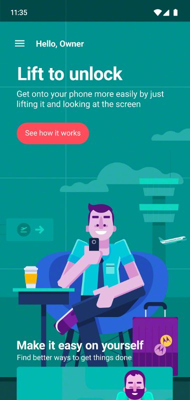 MotoG7 Play Lift to unlock info screen
