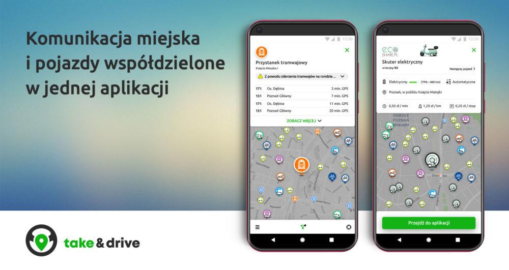 Polski start-up połączył komunikację miejską i pojazdy współdzielone w jednej aplikacji w całej Polsce - premiera take&drive 2.0