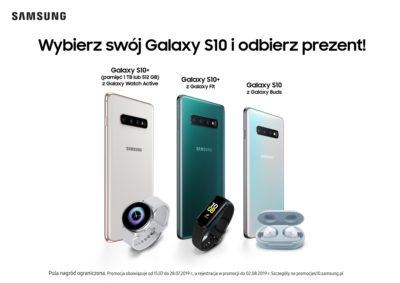 Rodzina smartfonów Galaxy S10 w promocyjnych zestawach z urządzeniami ubieralnymi marki Samsung