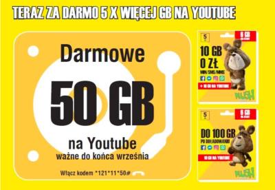 Dodatkowe 50 GB na YouTube w Plushu na Kartę