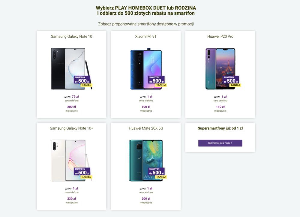 Teraz wybierając PLAY HOMEBOX DUET lub RODZINA otrzymacie rabat do 500 zł, nie na drugi, a na pierwszy zakupiony smartfon!