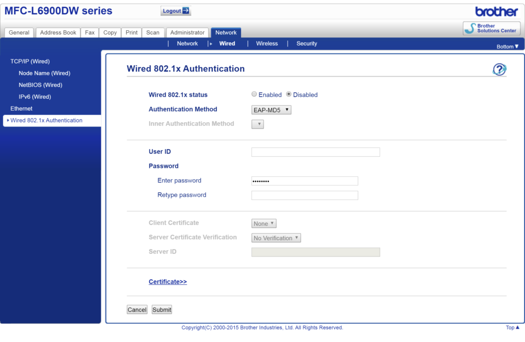 192.168.118.4 net wired authentication 8021x.html
