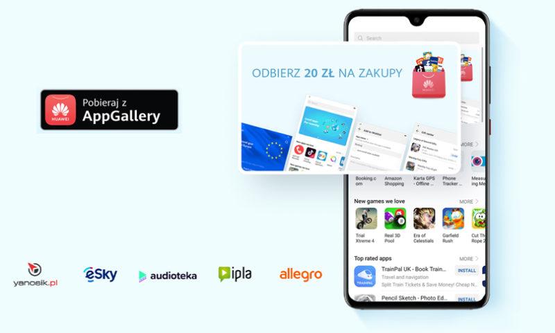 Voucher o wartości 20 zł na zakupy w huawei.pl za pobieranie aplikacji z Huawei AppGallery