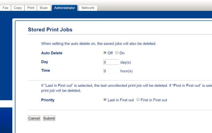 stored print jobs