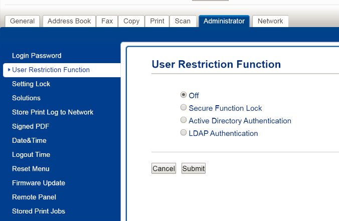 user restriction function