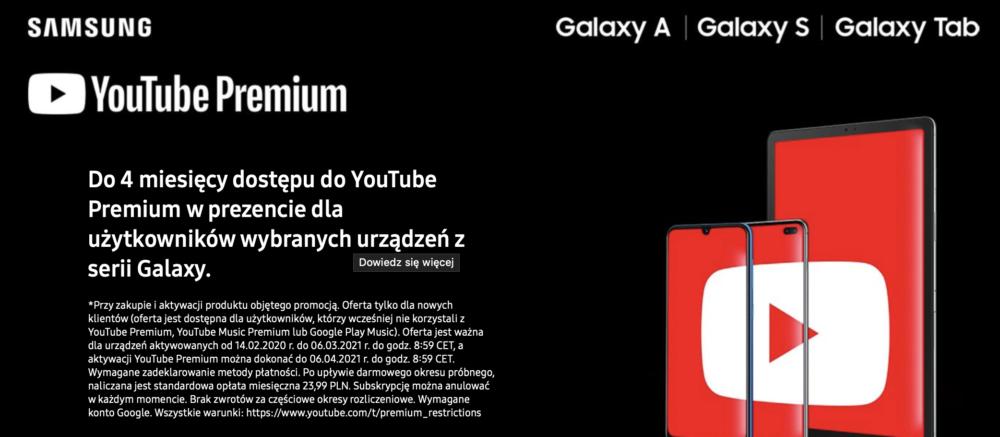 YouTube Premium nawet przez 4 miesiące za darmo dla użytkowników urządzeń Galaxy