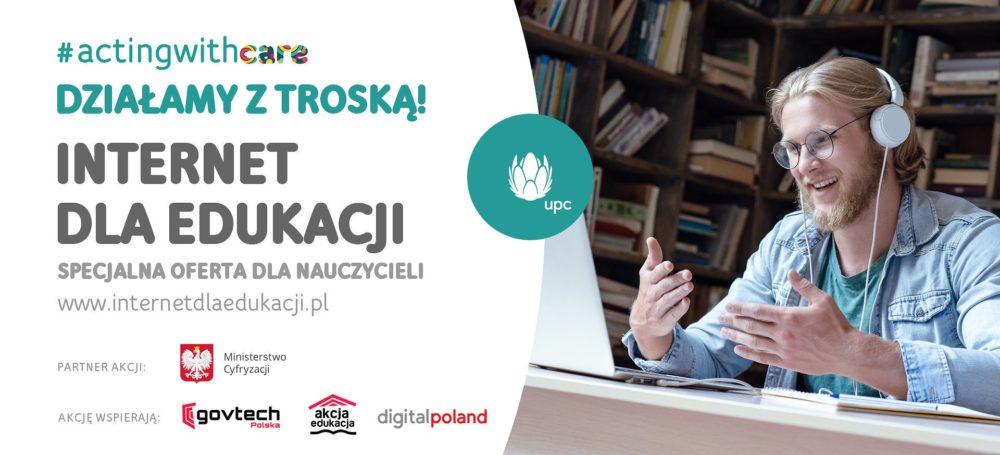 UPC Polska razem z Ministerstwem Cyfryzacji uruchamia akcję Internet dla Edukacji, zapewniając darmowy dostęp do szerokopasmowego internetu nauczycielom