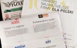 """Emitel w pierwszej dziesiątce rankingu """"Najważniejszych firmy dla Polski"""" dziennika Rzeczpospolita"""