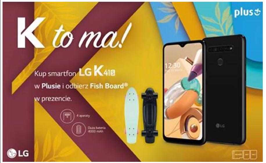 Promocja tylko dla klientów Plusa: deskorolka Fishka przy zakupie LG K41S