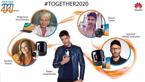 Kożuchowska, Pisarek, Tyszka, Jankes i ambasador Huawei Lewandowski w najnowszej kampanii Together 2020